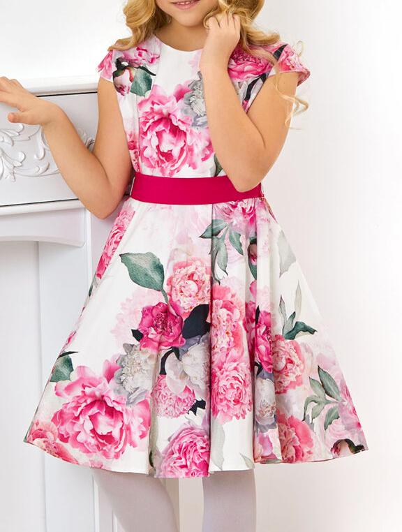sukienka dla dziewczynki wizytowa w kolorowe kwiaty
