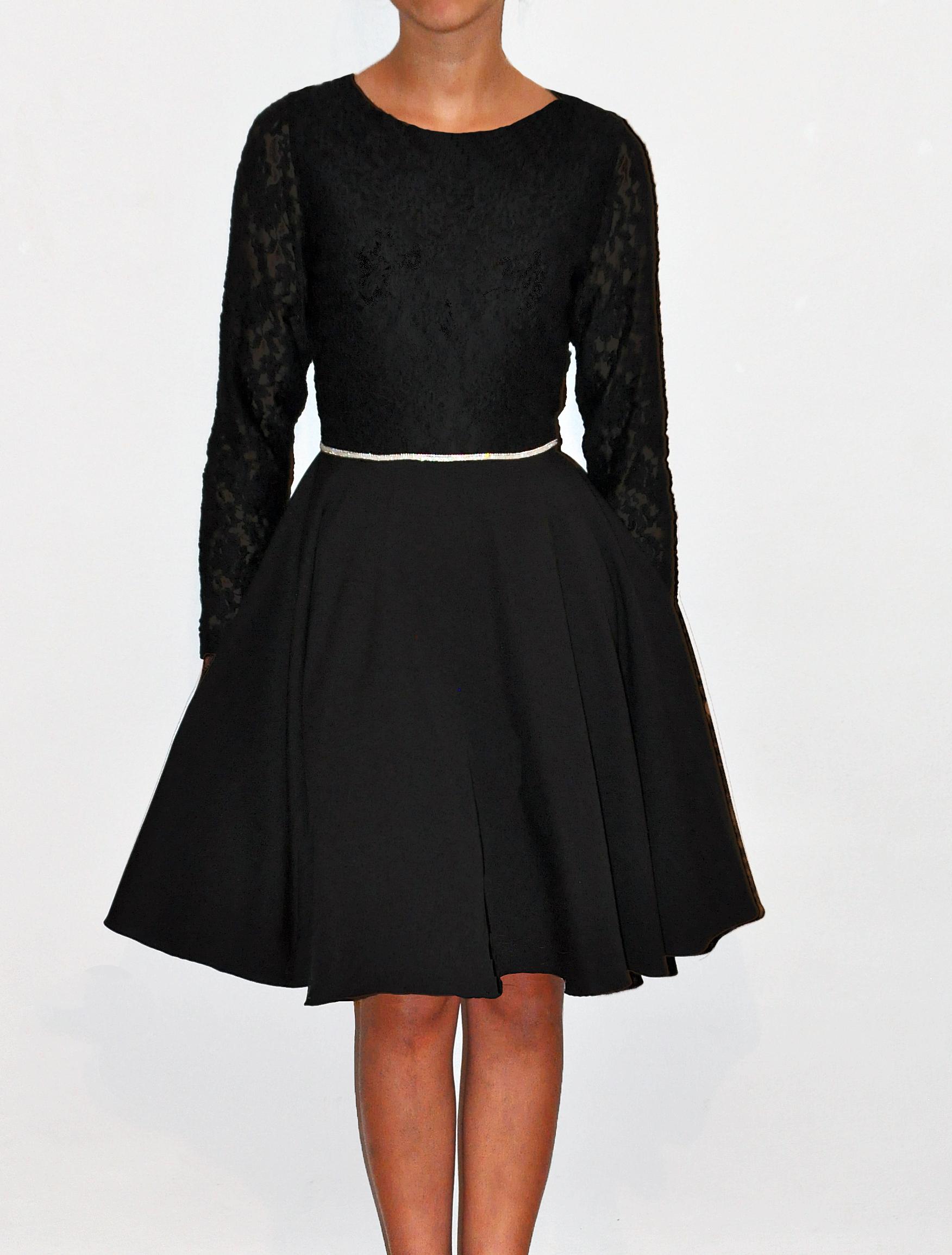 sukienka młodzieżowa czarna na bierzmowanie