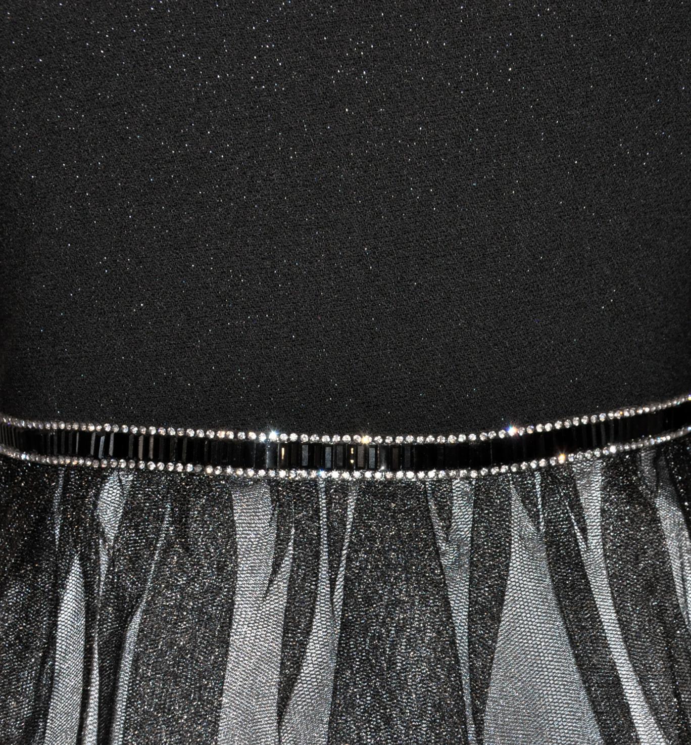 sukienka dziewczęca z czarnym i srebrnym tiulem
